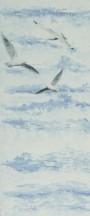 Пластиковая панель ПВХ Чайки на синем фоне.